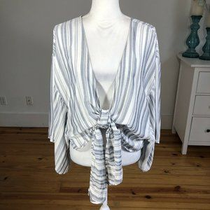 Windsor Open Front With Tie Blouse Kimono Sleeve L